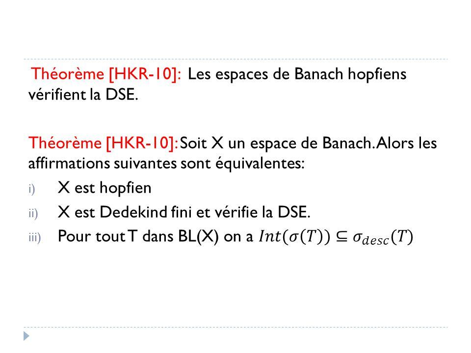 Théorème [HKR-10]: Les espaces de Banach hopfiens vérifient la DSE.